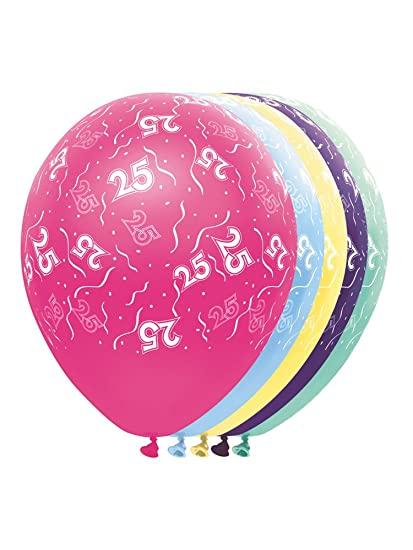 Folat 19022 Globos de fiesta de 25 cumpleaños - 5 piezas ...