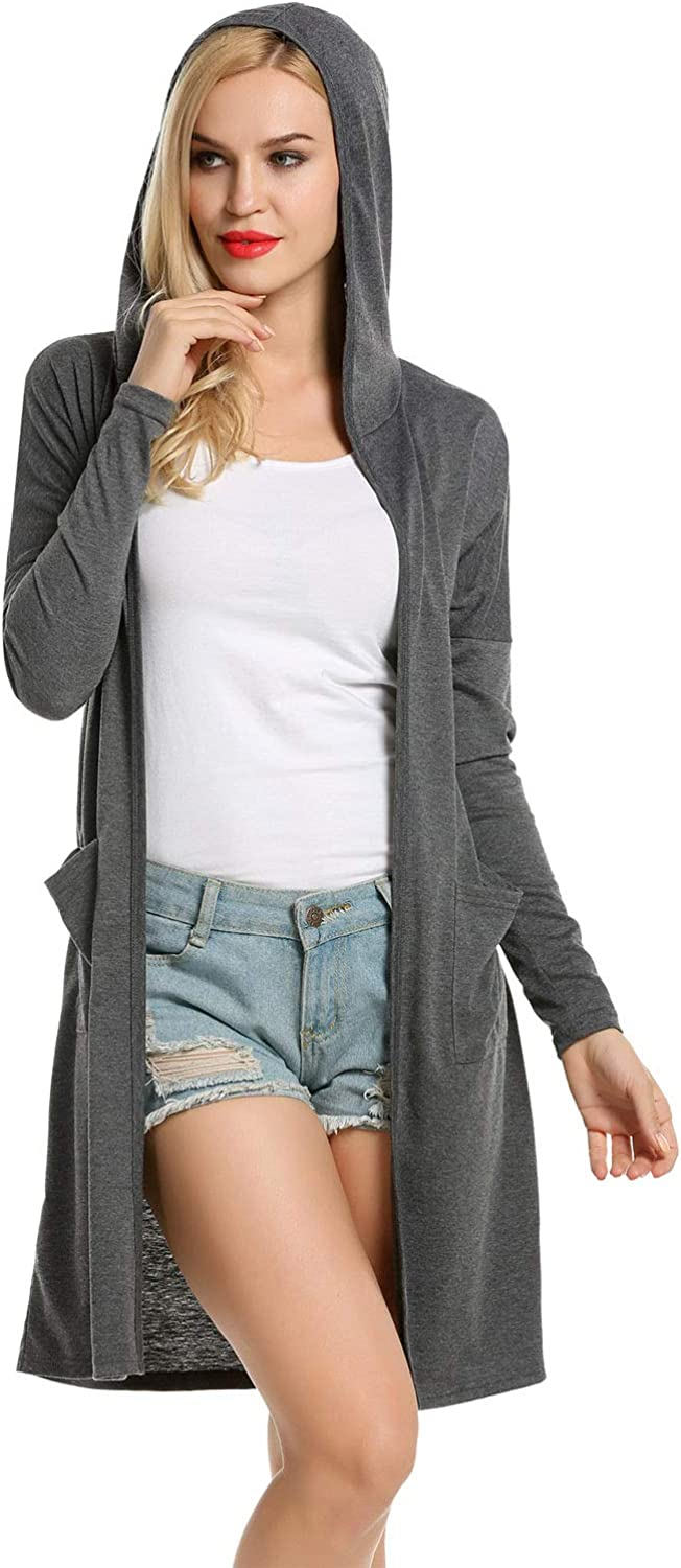 Newchoice Womens Fall Lightweight Long Sleeve Cardigan Sweaters with Pockets Soft Open Front Long Cardigan S-XXL