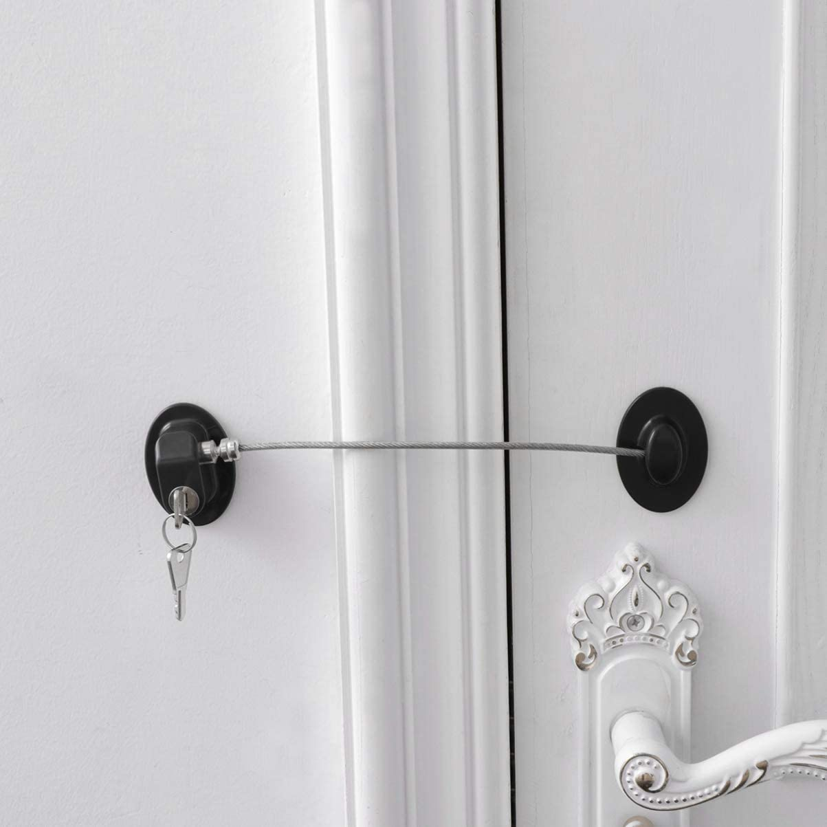 Black DOITOOL 1PC Refrigerator Door Lock with 2 Keys for Fridge Lock Security for Child Safety Window Locks Cabinet Locks with Keys for Home Dorm Apartment Office