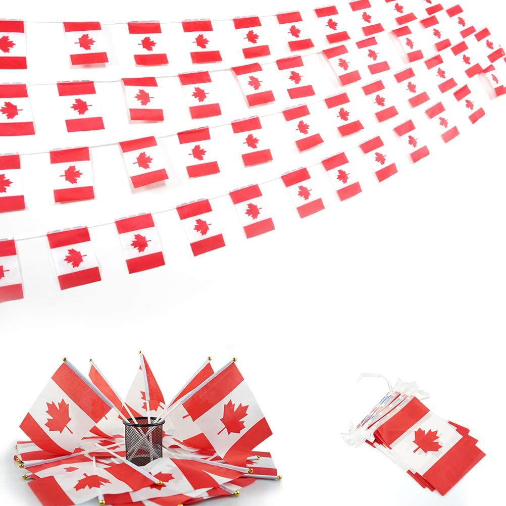 Canada String Flag and Stick Flag Set-100 Feet with 76 Pennant Banners 20 Pack Canadian Stick Flags Perfect for Independence Day,Outdoor,Garden,Sports Event