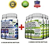 Pure Green Coffee Bean Extract + Colon Cleanse Detox Diet - Weight Loss and Detox Bundle - 480 Veggie Capsules - Gluten Free - Non GMO (6 Months Supply)