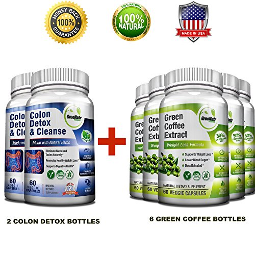 Pure Green Coffee Bean Extract + Colon Cleanse Detox Diet - Weight Loss and Detox Bundle - 480 Veggie Capsules - Gluten Free - Non GMO (6 Months Supply) by GreeNatr