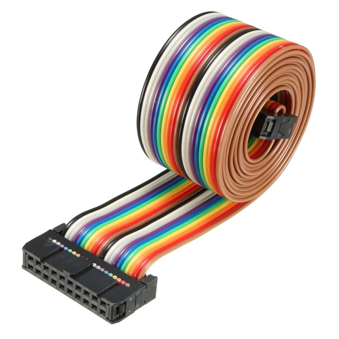 sourcing map IDC Rainbow Wire Flat Ribbon Cable 16 Pins 118cm Length 2.54mm Pitch Type-B