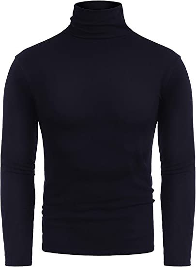 RAGEMALL Mens Slim Fit Basic Thermal Turtleneck Sweaters Casual Knitted Pullover Black L