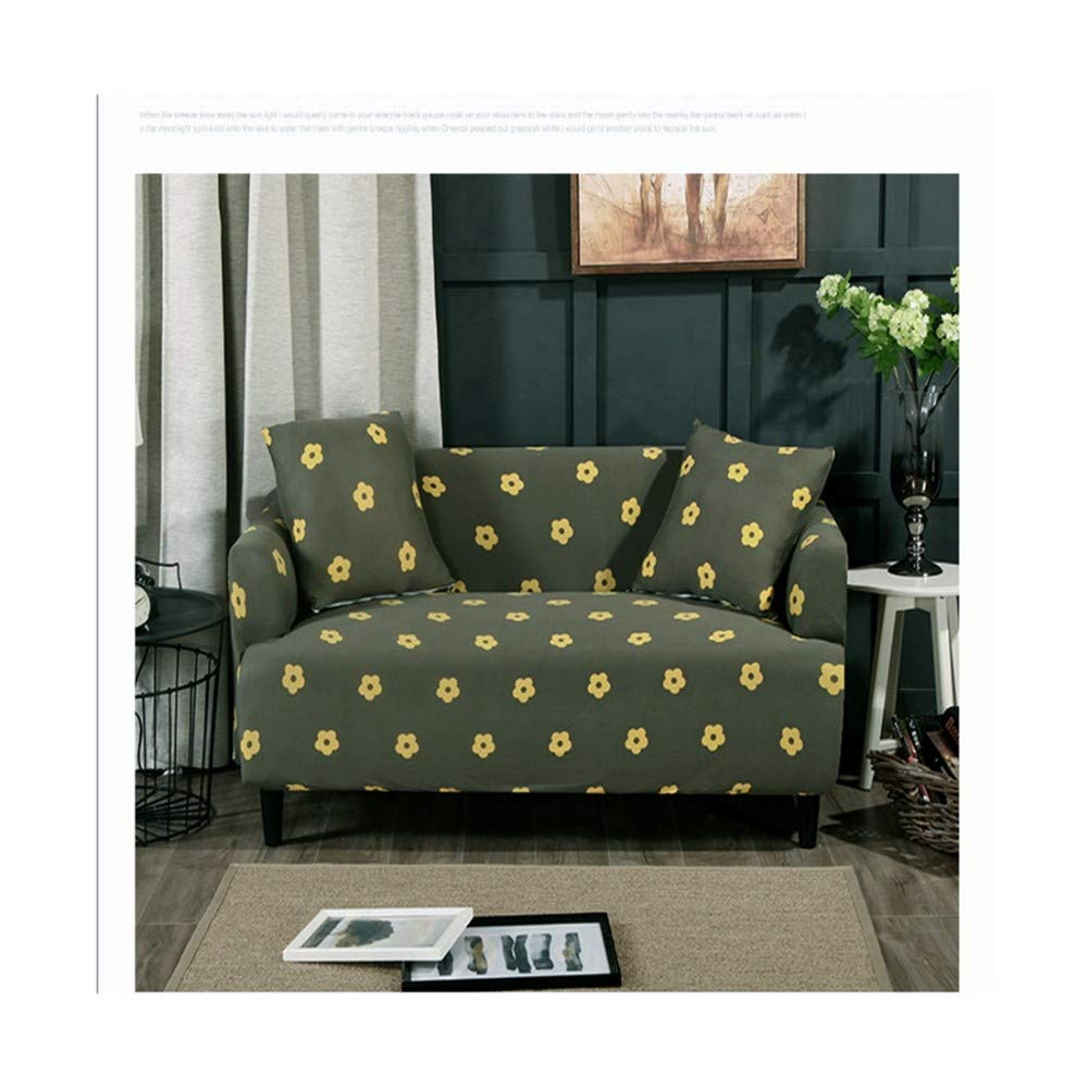 4seat VGUYFUYH Small Flower Pattern Four Seasons Universal Non-Slip Sofa Cover Polyester All-Inclusive Elastic Home Universal Sofa Cover Simple Fashion One Set Durable Dust Pet Dog Predective Cover,4S
