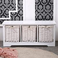 White Shabby Cupboard Cabinet Table Wicker Wood Basket Storage with 3 Drawers