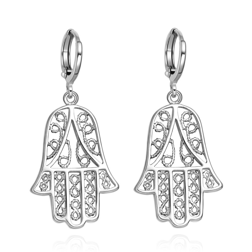 Beautiful and Cute Evil Eye Protection Reflection Hamsa Hand Amulets Silver-Tone Filigree Style Earrings