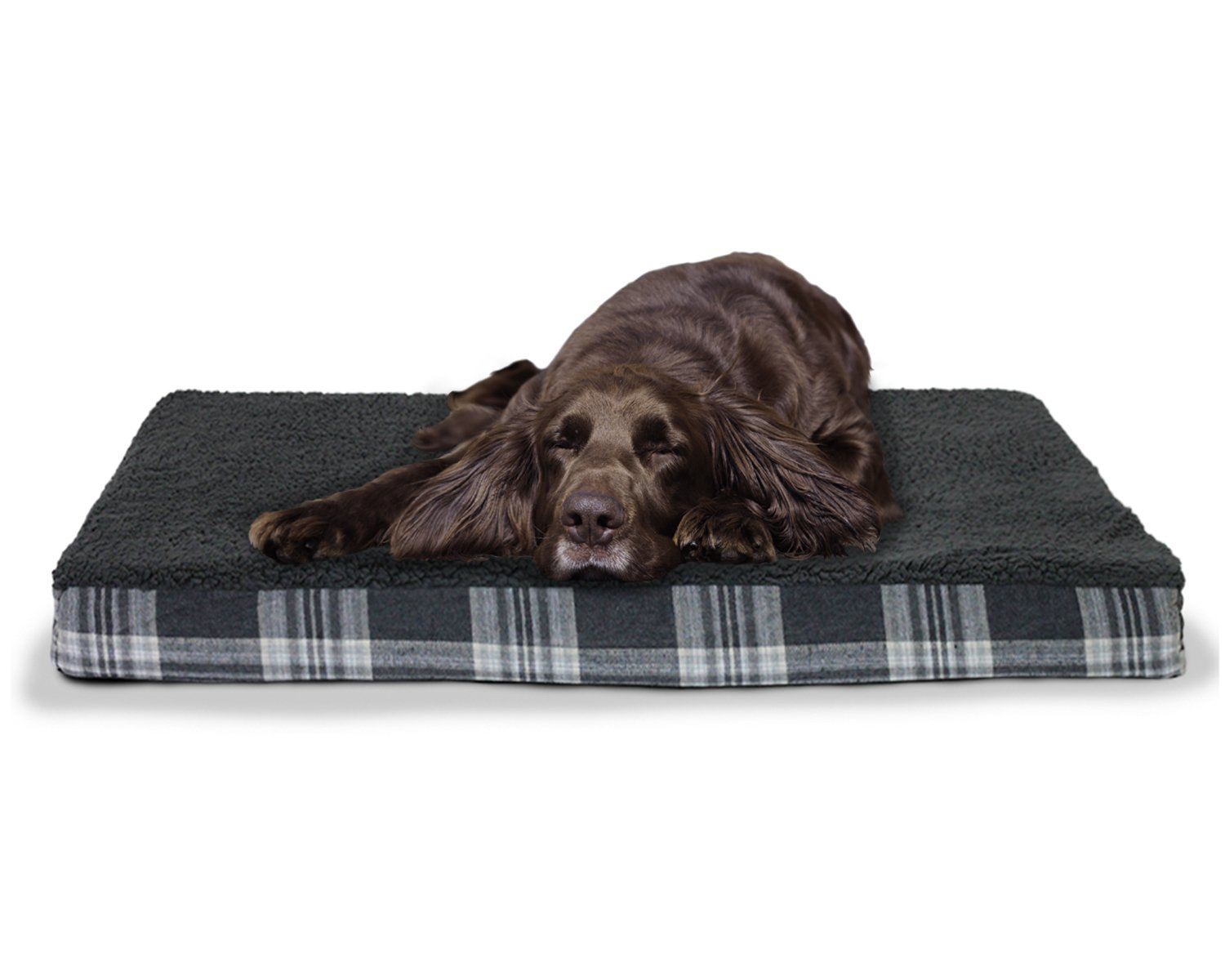 durable service Furhaven Faux Sheepskin and Plaid Orthopedic Dog Bed