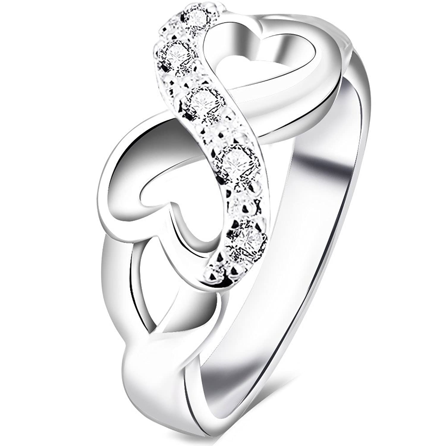 amazoncom bohg jewelry womens 925 sterling silver plated cubic zirconia cz heart infinity symbol wedding ring jewelry - Womens Wedding Ring