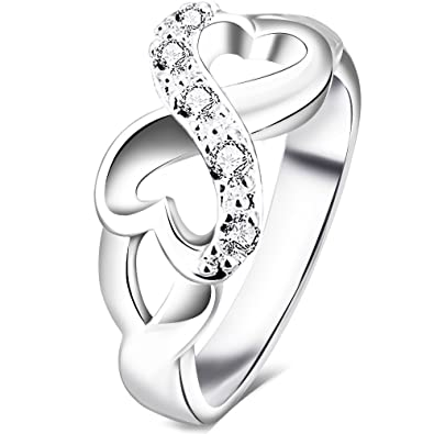 BOHG Jewelry Womens Fashion Silver Plate Cubic Zirconia CZ Heart Infinity Symbol Ring Wedding Band