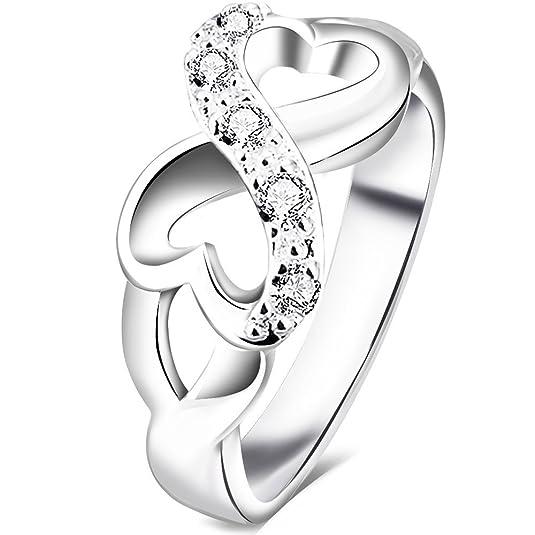 Amazon.com: BOHG Jewelry Womens Fashion Silver Plate Cubic Zirconia CZ  Heart Infinity Symbol Ring Wedding Band: Jewelry