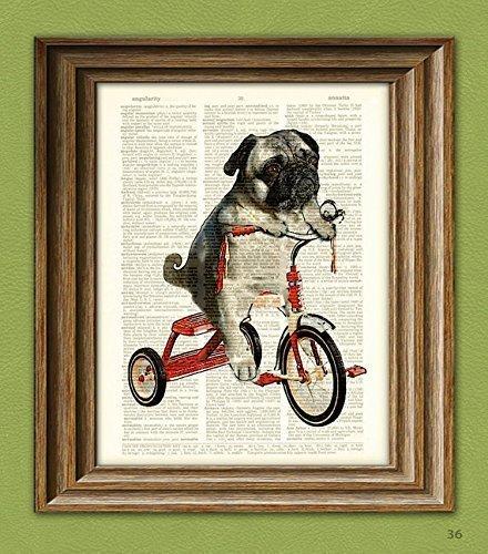 CollageOrama Pug Art Print Mike the Trike pug dog on a tricycle original art vintage dictionary page book art print,8.5 x 11 (Print Pug Dog)