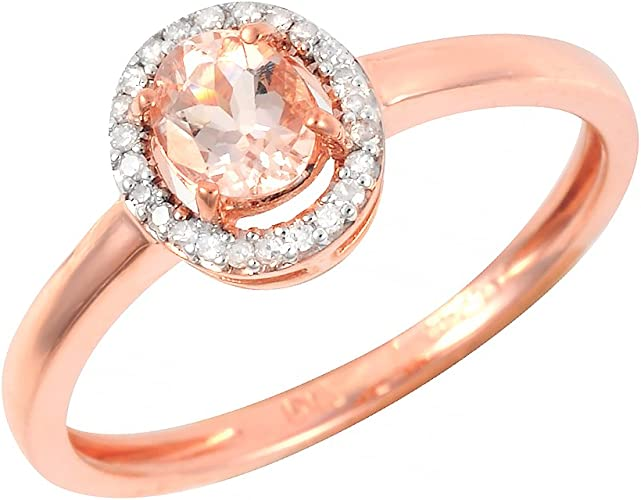 Ivy Gems 9ct Rose Gold Round Cut Pink Morganite Engagement Ring Amazon Co Uk Jewellery