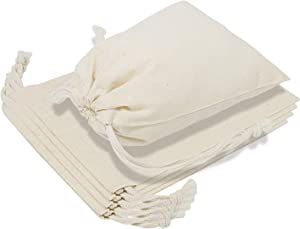 """TOPDesign 6-Pack 14"""" x 17"""" Reusable Produce Bags, Muslin Bags with Drawstrings for Shopping & Storage, 100% Natural Cotton Bags, Washable, Biodegradable, Food Safe"""