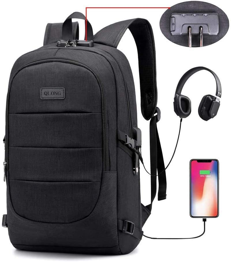 Laptop Backpack, Anti Theft Slim Durable College School Bookbag, Business Travel Water Resistant Backpacks for Men Women, Computer Bag with USB Charging Port Lock Fits 15.6 inch Laptop and Notebook