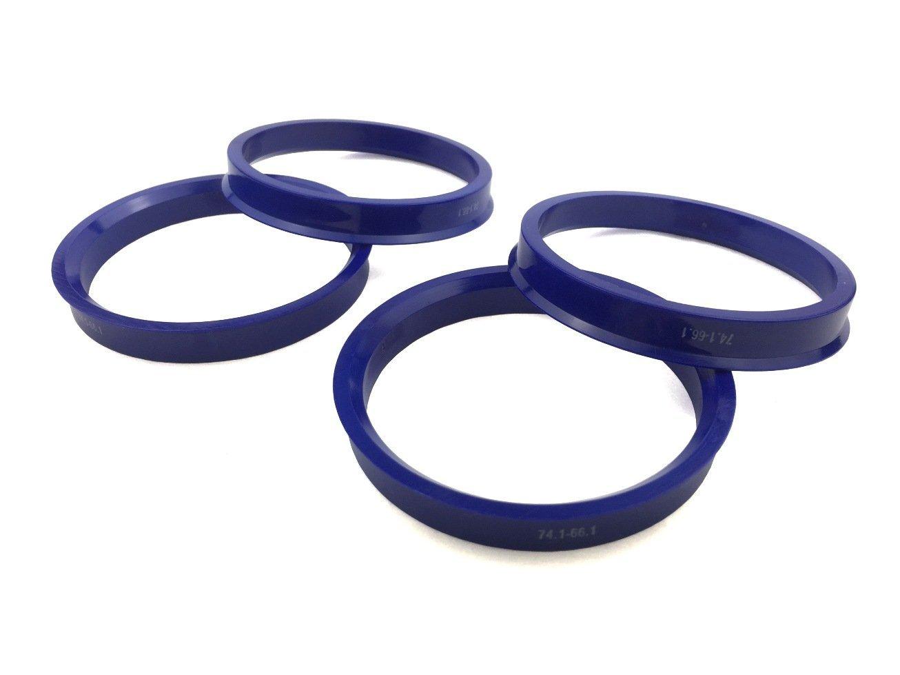 4 Pieces - Hub Centric Rings - 74.1mm OD to 66.1mm ID - Dark Blue Poly Carbon Hub Rings JianDa