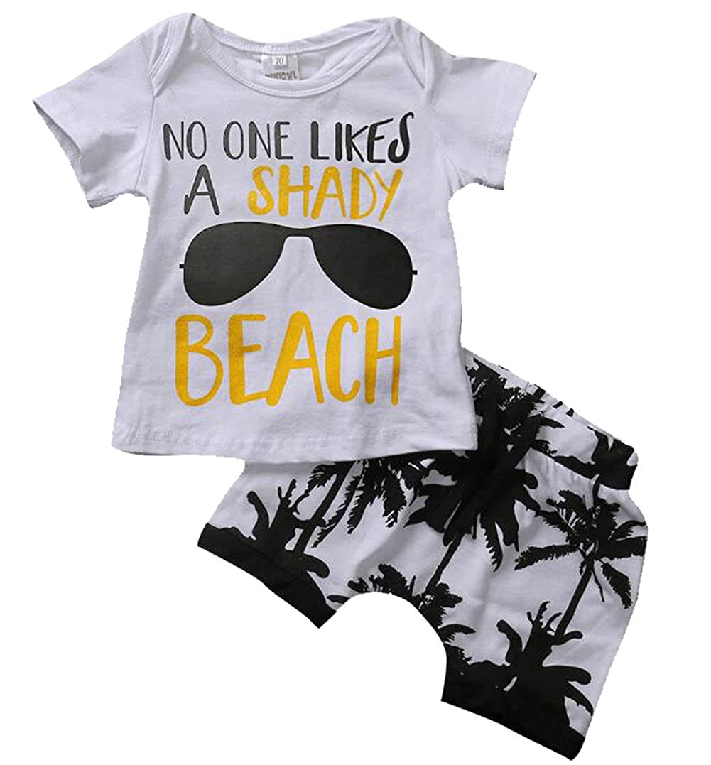 Shirt Top 2Pcs Kids Toddler Baby Boys Girls No One Likes A Shady Beach Glasses T Palm Shorts Set UNIQUEONE