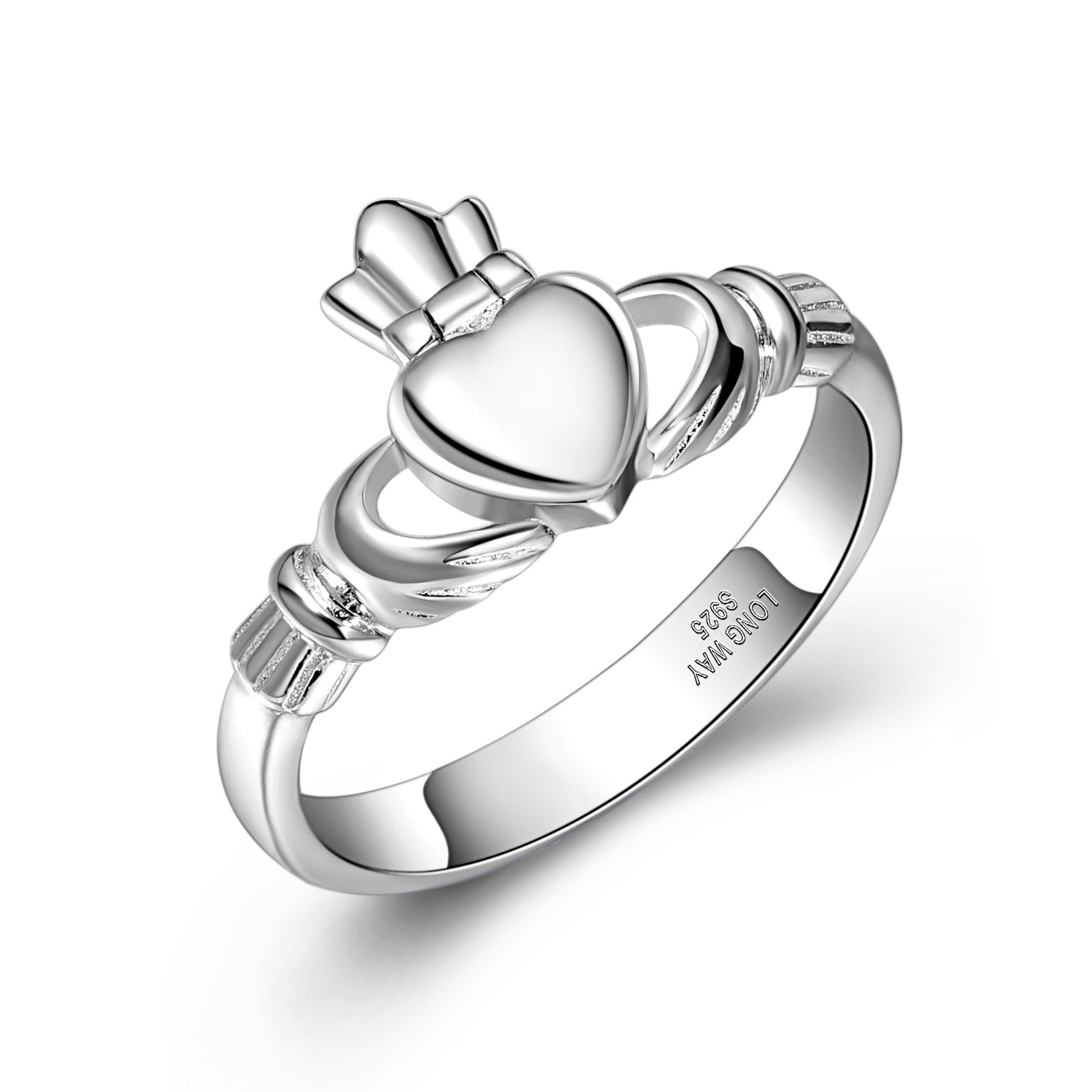 Claddagh Ring,Long Way S925 Sterling Silver Ireland Love Heart Hand Friendship Ring for Women (9)