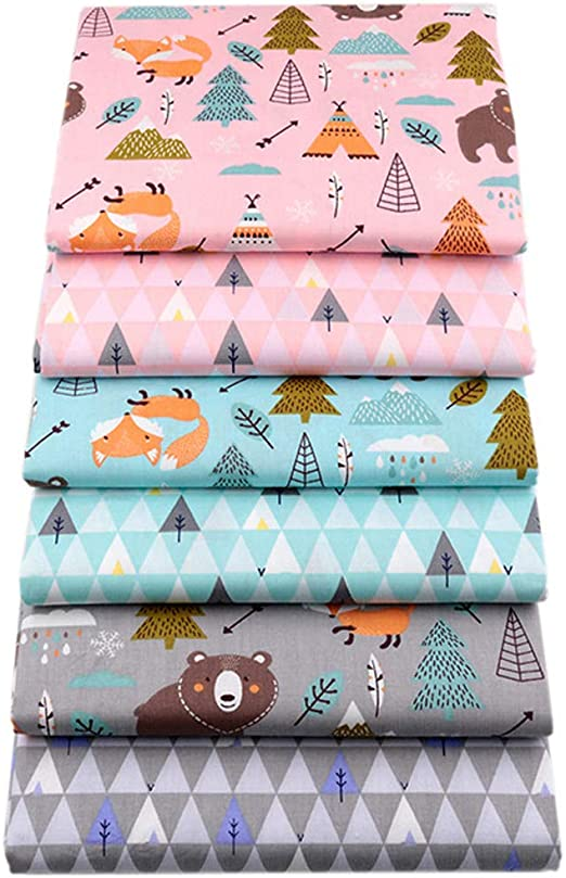 6 trozos de tela para patchwork, 46 x 56 cm, tela de algodón estampada con diseño de osos y zorros para costura: Amazon.es: Hogar
