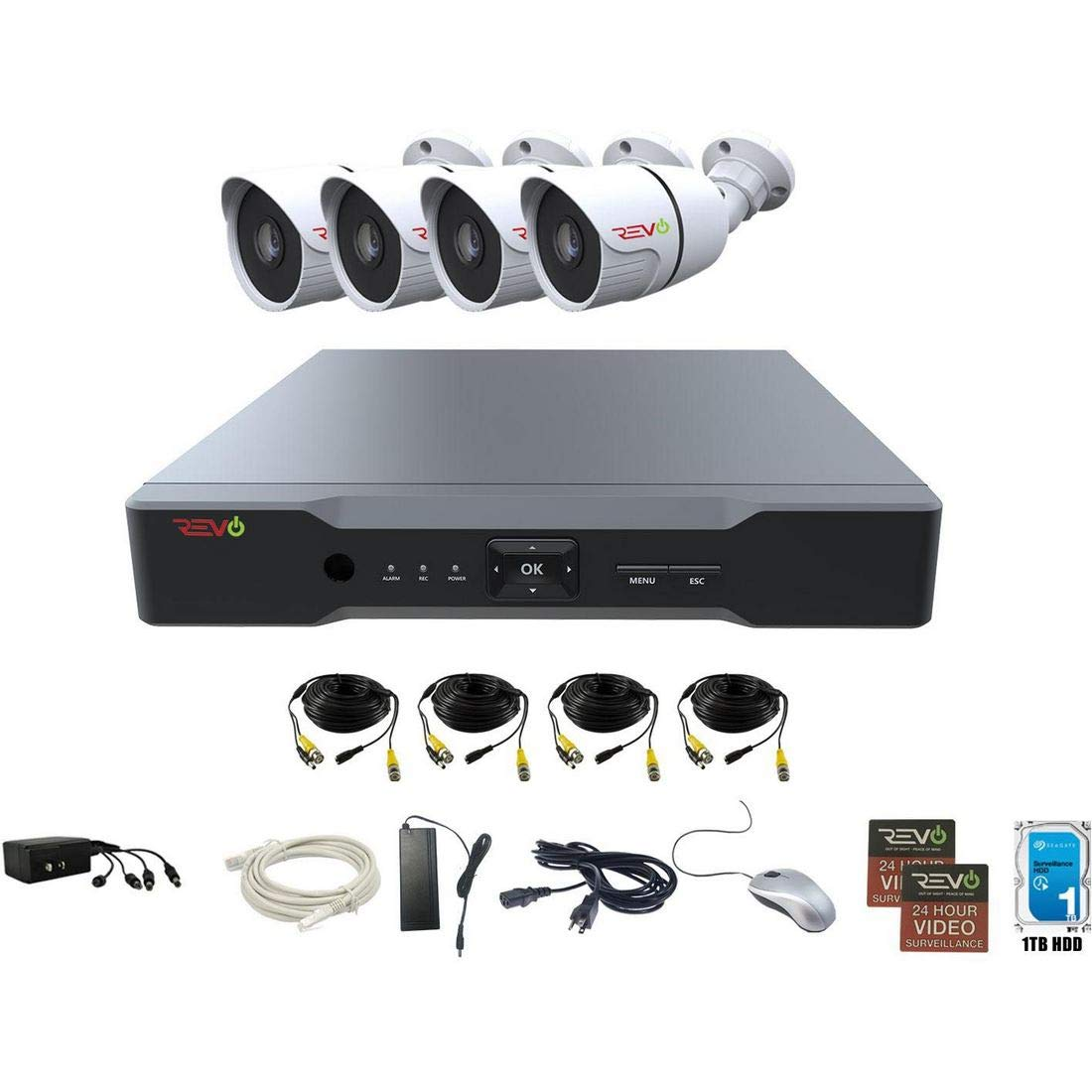 Revo America AeroHD 8Ch. 4MP DVR, 1TB HDD Video Security System, 4 x 1080p IR Bullet Cameras Indoor Outdoor – Remote Access via Smart Phone, Tablet, PC MAC