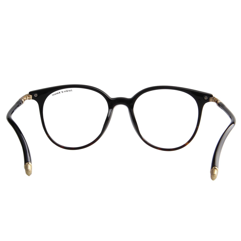 48585152f6f Jardin D amour Classic Fashion Men s women s Round Circle Eyeglasses Non-Prescription  Unisex Retro Frame Clear Lens Glasses JA7207(Black)  Amazon.co.uk  ...