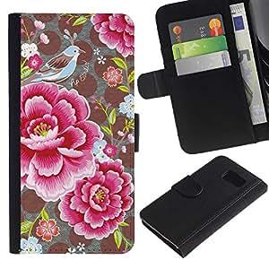 Estuche de Cuero Billetera del tirón Tarjeta de la Bolsa Titular de Suave Caso para Samsung Galaxy S6 SM-G920 / CECELL Phone case / / Flower Petals Polka Dot Pattern Vintage /