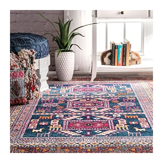 """nuLOOM Marisela Tribal Runner Rug, 2' 8"""" x 8', Navy - Features a Novelty design Construction: machine made Material is 100% polypropylene - runner-rugs, entryway-furniture-decor, entryway-laundry-room - 61fkIoWOX1L. SS570  -"""