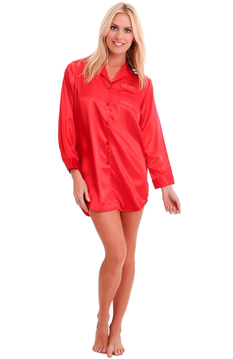 Del Rossa Womens Satin Solid Color Nightshirt, Boyfriend Style Sleepshirt with Mask A0746-Solid
