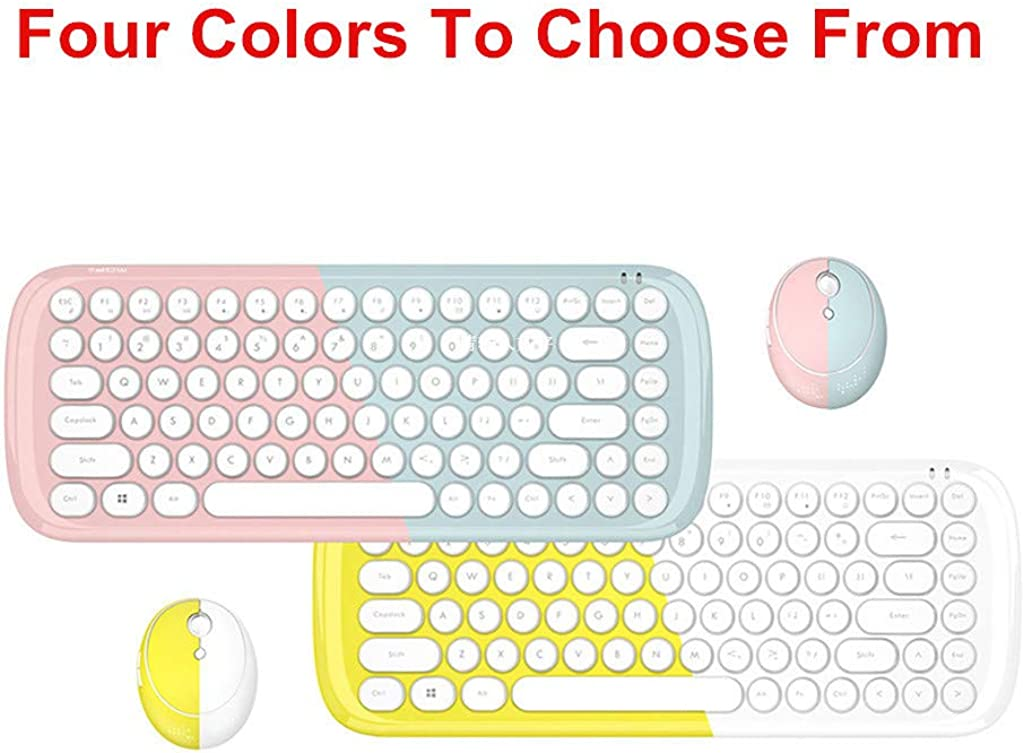 Wireless Candy Colored Keyboard and Mouse Combos Mini Frosted Round Keycaps Windows Laptop Computer
