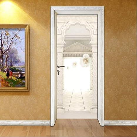 DWWNB 3D Etiqueta De La Puerta Space Roman Column Rose 3D Autoadhesivo Impermeable Calcomanías para Papel Pintado Decoración para El Hogar Puerta 77X200Cm: Amazon.es: Hogar