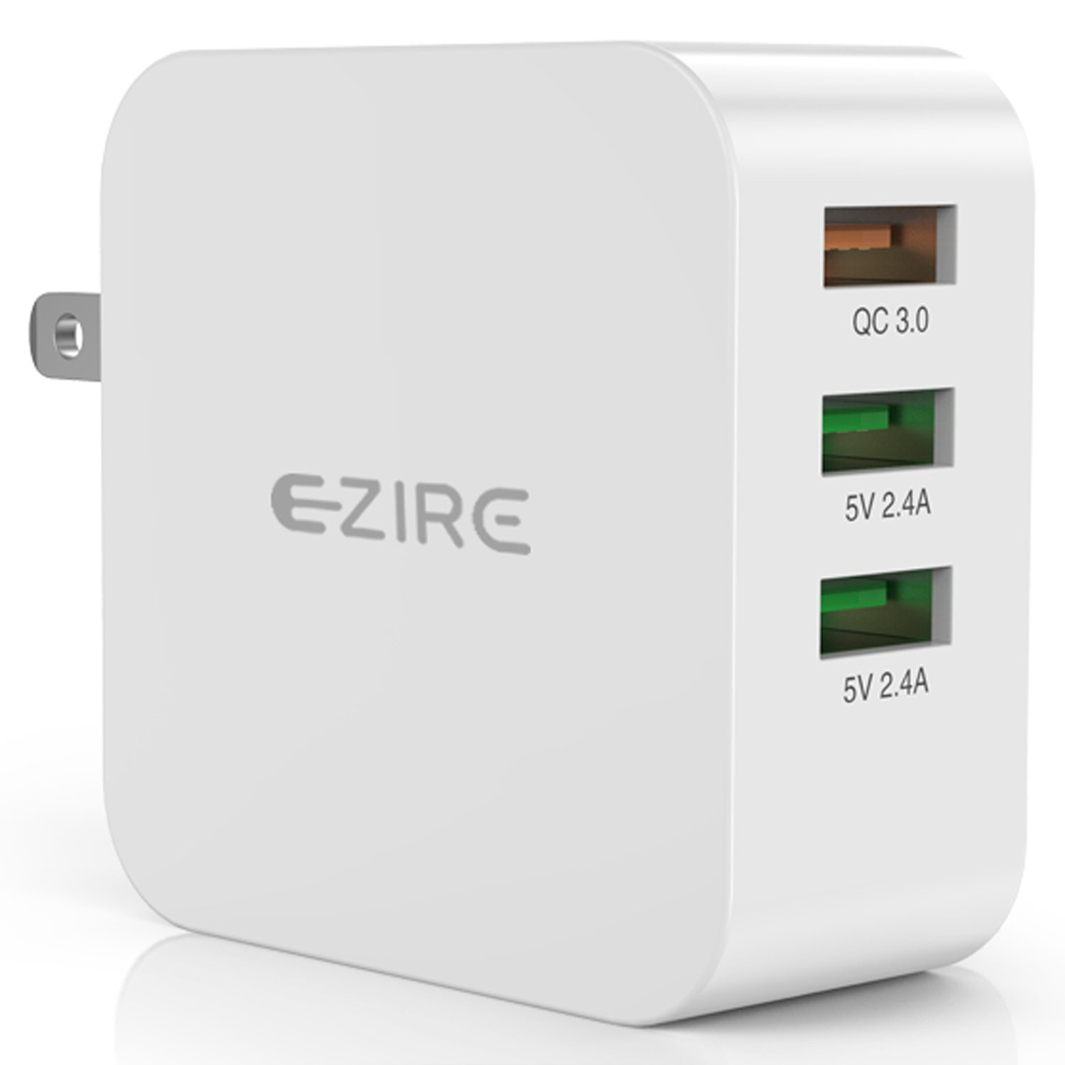 Quick Charge 3.0 USB Charger, Ezire 36W Wall Charger Adapter 3-Port USB Power Adapter with SmartID Compatible for Galaxy Note 5/4, S7/S6/Edge, iPhone8Plus/Iphone8, iPad and More