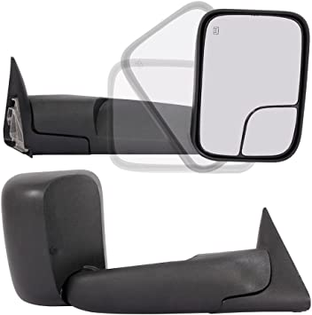 Pair Towing Mirrors for 98-01 Dodge Ram 1500 98-02 Dodge Ram 2500 3500 Truck Power Heated Flip Up Extendable Side Tow Mirrors with Support Brackets Roadstar CH1321307