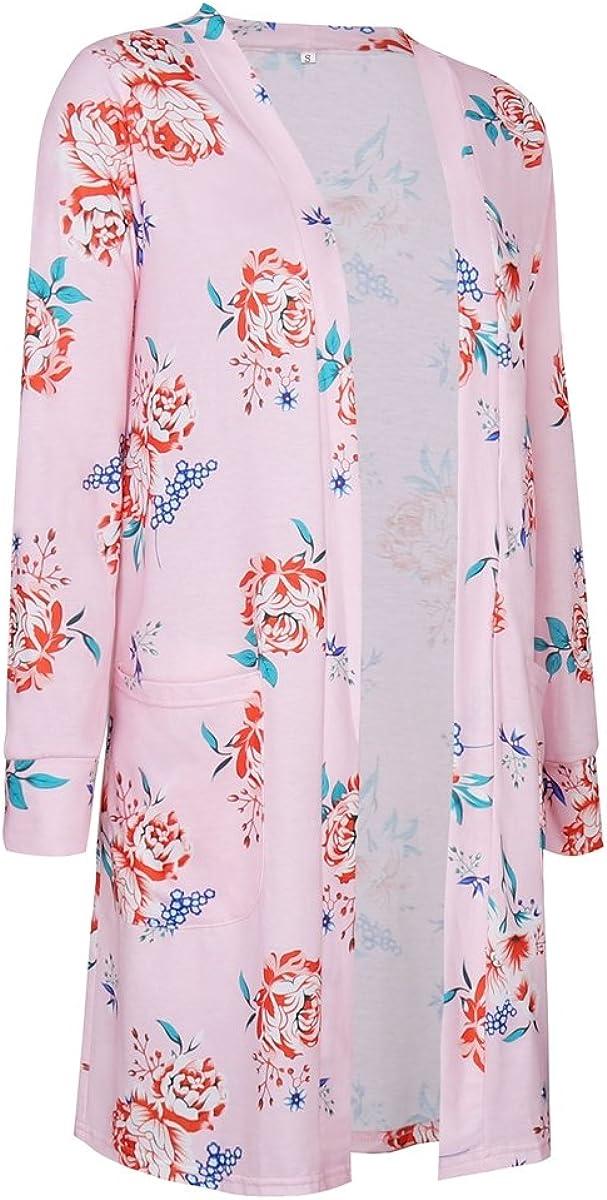 Minishion Womens Floral Print Long Sleeve Fashion Cardigan