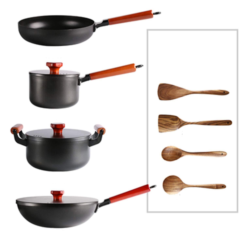 鋳鉄ポットセット、中華鍋平底フライパンスープポットミルクポット、健康調理器具セット   B07MXJVHVR