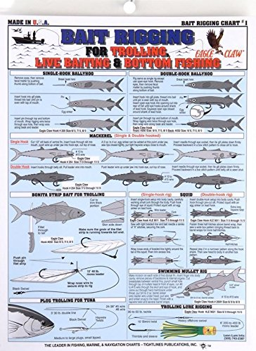 Tightline Fishermans Bait Rigging Chart - For Trolling Live Bait/Bottom (Rigging Live Bait)