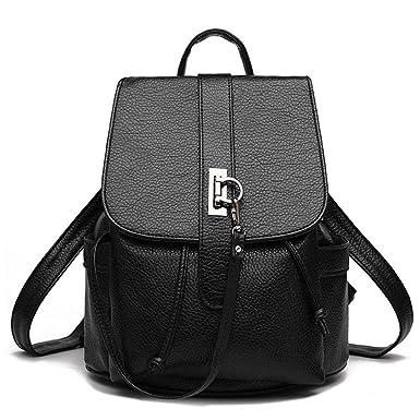 dabd63d224 Women s Backpack Female Mini Backpack Trendy For Teenage Girls Double  Shoulder Bag Hasp Flap Pocket Black