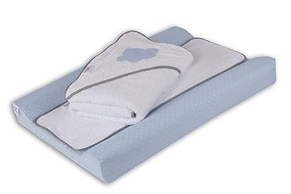 Belino Motitas - Pack de cambiador plastificado 48 x 70 cm y capa de baño 80
