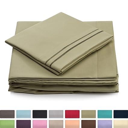 California King Bed Sheets   Sage Green Luxury Sheet Set   Deep Pocket    Super Soft