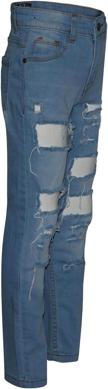 A2Z 4 Kids Kids Boys Stretchy Jeans Designers Light Blue/_Denim Ripped Fashion Bikers Skinny Pants Stylish Bottom Slim Fit Adjustable Waist Trousers Age 5 6 7 8 9 10 11 12 13 Years