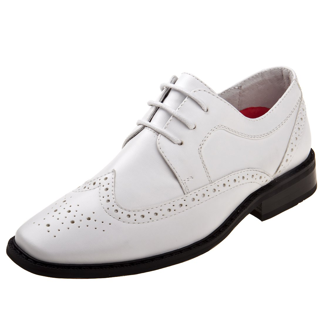 Joseph Allen Boy's Wing Tip Oxford Dress Shoe, White, 13 M US Little Kid'