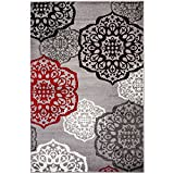 NEW Summit Elite # 53 Moroccan Madallions Gray White Black Red Modern Abstract Area rug Many Sizes Available 2x3 2x7 4x6 5x7 8x11 (22 inch x 35 inch SCatter Rug Door Mat ) by Summit