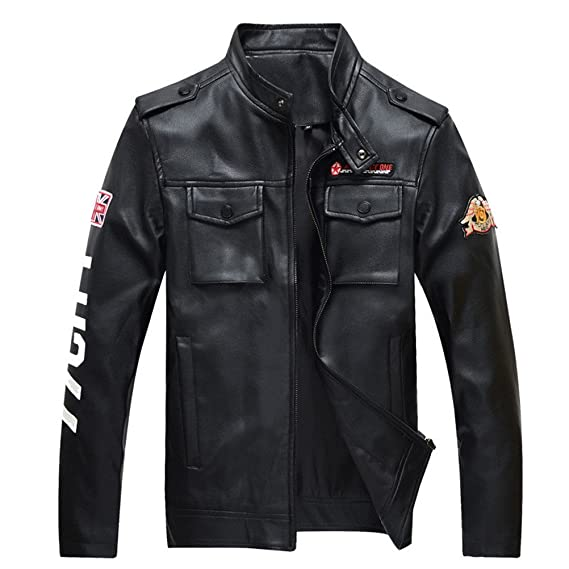 Motorcycle Moto Leather Jacket Men Mens Air Force Military ...