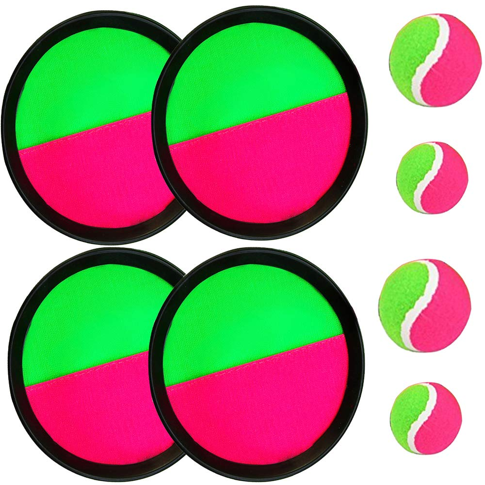 Paddle Catch Ball and Toss Game Set Velcro Disc Toss and Catch Paddle Sport Game(4 Paddles and 4 Balls)