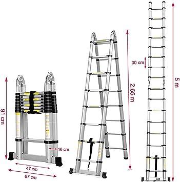 Escalera telescópica multifunción, aluminio, norma EN131, de bricolaje, portátil, de tejado (de 91 cm a 5 m): Amazon.es: Bricolaje y herramientas