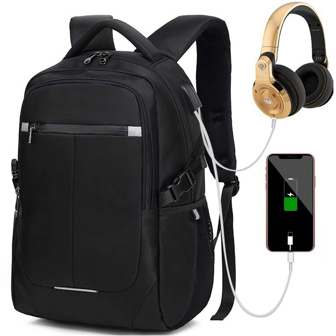 Kriture Laptop Backpack Men Women Business Travel Slim 15.6 Computer Bag with USB Charging and Earphone Port, Water Resistant Computer Backpacks for College School Student Bookbag, Black