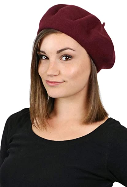 110a26197a2db Brigette Classic Wool Beret by Parkhurst Hats (MERLOT) One Size at ...