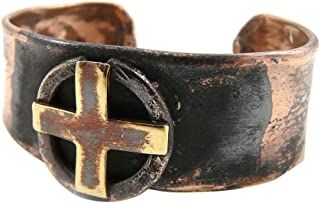 product image for American Made Rustic Unisex Copper Cuff Bracelet - Sun Cross