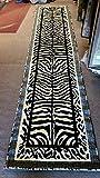 Kingdom Zebra Animal Skin Print Runner Rug Black & Off White Design D142 (2ft.x7ft.)