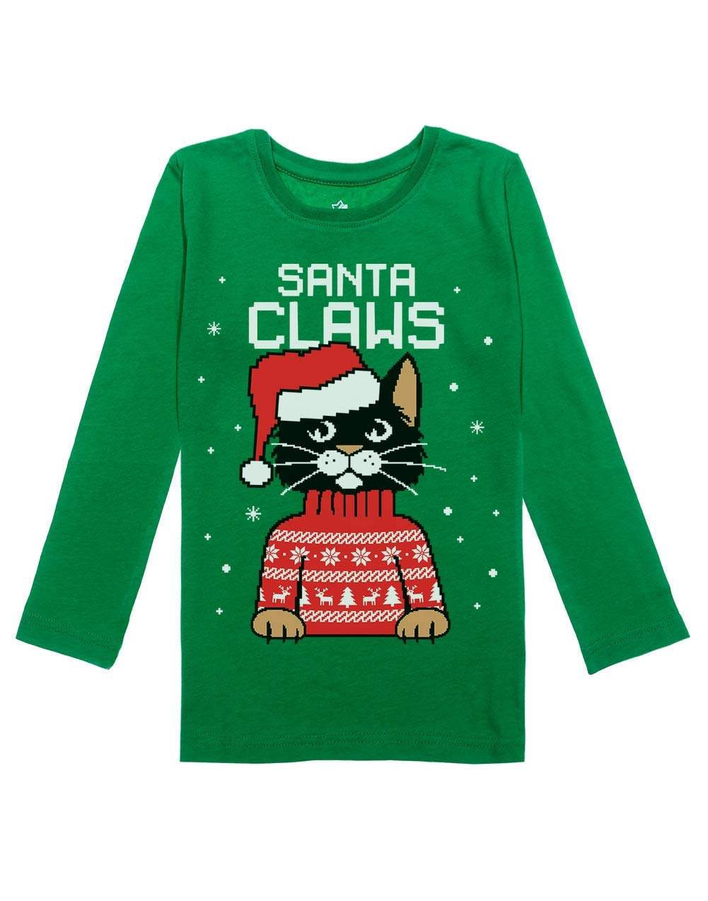 Santa Claws Cat Ugly Christmas Sweater Girls Toddler Long Sleeve Fitted T-Shirt