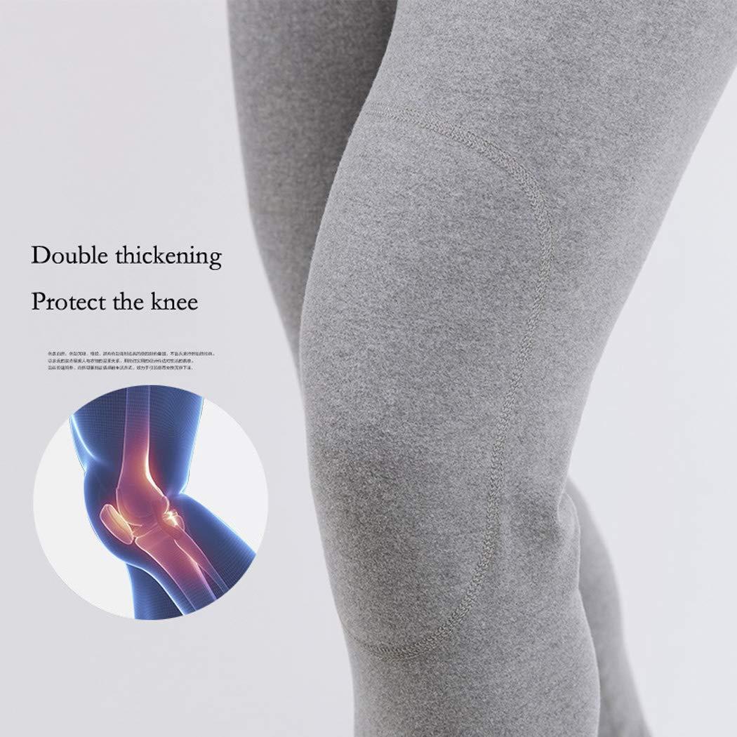 Ropa interior térmica para hombres Pantalones calientes de mediana edad Cashmere de doble cara Otoño e invierno Pantalones de gran tamaño sueltos de cintura ...